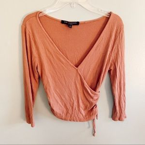 One Clothing Peach Ribbed Crop Top